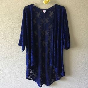Lularoe Cobalt Blue Lindsay Lace Kimono